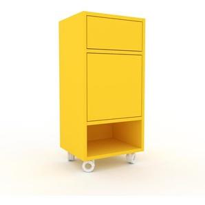 Rollcontainer Zitronengelb - Rollcontainer: Schubladen in Zitronengelb & Türen in Zitronengelb - 41 x 87 x 35 cm, konfigurierbar