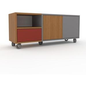 Rollcontainer Grau - Rollcontainer: Schubladen in Rot & Türen in Eiche - 116 x 49 x 35 cm, konfigurierbar
