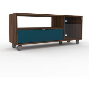 Rollcontainer Kristallglas klar - Rollcontainer: Schubladen in Blau & Türen in Kristallglas klar - 116 x 49 x 35 cm, konfigurierbar