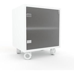 Rollcontainer Kristallglas satiniert - Moderner Rollcontainer: Türen in Kristallglas satiniert - 41 x 49 x 35 cm, konfigurierbar