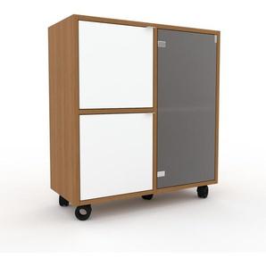 Rollcontainer Kristallglas satiniert - Moderner Rollcontainer: Türen in Weiß - 79 x 87 x 35 cm, konfigurierbar