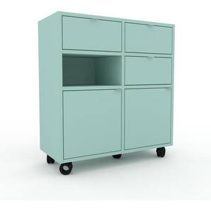 Rollcontainer Seegrün - Rollcontainer: Schubladen in Seegrün & Türen in Seegrün - 79 x 87 x 35 cm, konfigurierbar