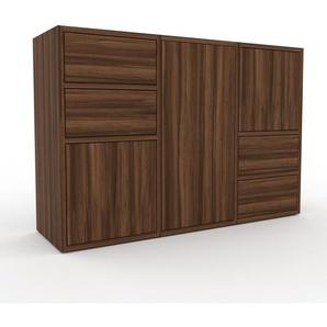 Rollcontainer Nussbaum - Rollcontainer: Schubladen in Nussbaum & Türen in Nussbaum - 118 x 80 x 35 cm, konfigurierbar