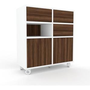 Rollcontainer Weiß - Rollcontainer: Schubladen in Nussbaum & Türen in Nussbaum - 79 x 87 x 35 cm, konfigurierbar