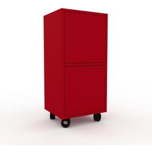 Rollcontainer Rot - Moderner Rollcontainer: Türen in Rot - 41 x 87 x 35 cm, konfigurierbar