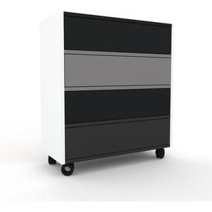 Rollcontainer Weiß - Moderner Rollcontainer: Schubladen in Schwarz - 77 x 87 x 35 cm, konfigurierbar