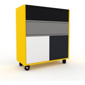 Rollcontainer Gelb - Rollcontainer: Schubladen in Grau & Türen in Weiß - 77 x 87 x 35 cm, konfigurierbar