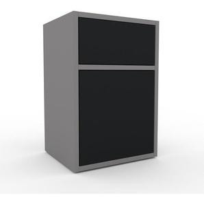 Rollcontainer Grau - Rollcontainer: Schubladen in Schwarz & Türen in Schwarz - 41 x 61 x 35 cm, konfigurierbar