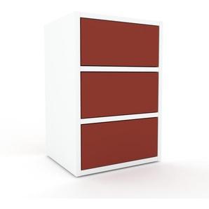 Rollcontainer Weiß - Moderner Rollcontainer: Schubladen in Rot - 41 x 61 x 35 cm, konfigurierbar