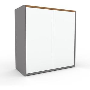 Rollcontainer Grau - Moderner Rollcontainer: Türen in Weiß - 77 x 80 x 35 cm, konfigurierbar