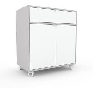 Rollcontainer Weiß - Rollcontainer: Schubladen in Weiß & Türen in Weiß - 77 x 87 x 47 cm, konfigurierbar