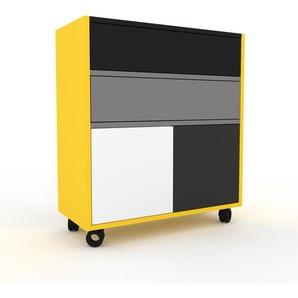 Rollcontainer Zitronengelb - Rollcontainer: Schubladen in Grau & Türen in Weiß - 77 x 87 x 35 cm, konfigurierbar