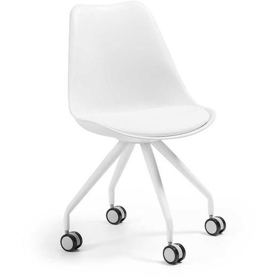 Rollen Stühle in Weiß Kunstleder gepolsterter Sitzfläche (2er Set)