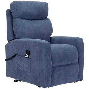 Rollen Wohnzimmer Sessel in Blau Webstoff Aufstehhilfe