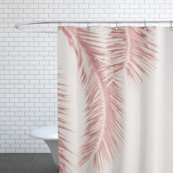 Rose Palm Leaves - Duschvorhang
