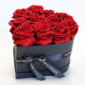 Rosenbox Herz schwarz mit 10-12 roten Rosen