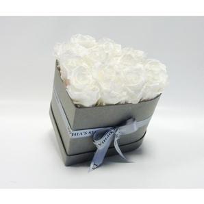 Rosenbox Herz steingrau mit 10-12 weißen Rosen