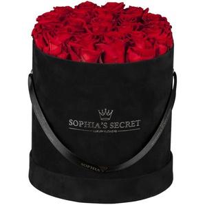 Rosenbox Hutschachtel schwarz mit 18-20 roten Rosen