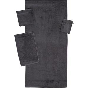 ROSS Gästehandtuch BRILLANT, (6 St.), mit Veloursborde B/L: 30 cm x 50 St.) grau Gästehandtücher Handtücher Badetücher