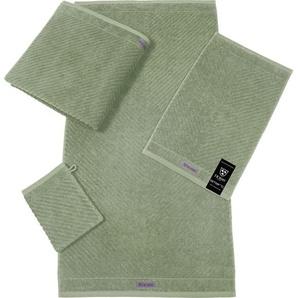 ROSS Gästehandtuch Smart, (6 St.), Uni-Rippe mit Velourslabel B/L: 30 cm x 50 St.) grün Gästehandtücher Handtücher Badetücher