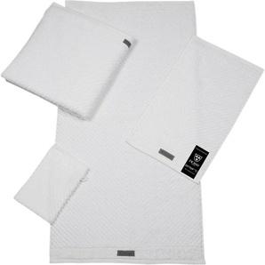 ROSS Gästehandtuch Smart, (6 St.), Uni-Rippe mit Velourslabel B/L: 30 cm x 50 St.) weiß Gästehandtücher Handtücher Badetücher