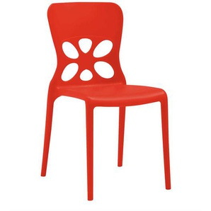Rote Stapelst�hle aus Kunststoff modern (2er Set)