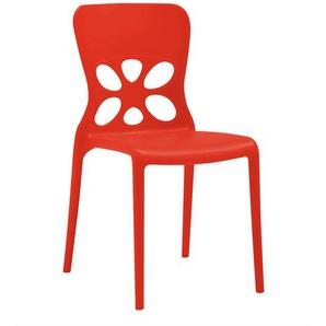 Roter Stapelstuhl aus Kunststoff modern
