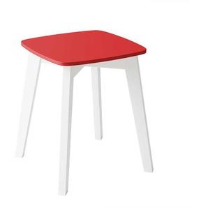 Roter Sitzhocker mit 4-Fuß Gestell aus Buche Massivholz in Weiß quadratisch