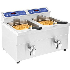 Royal Catering Induktionsfritteuse Fritteuse Edelstahl Doppel Fritteuse (2 x 10 L, 2 x 3500 W, Timer 15 Min, Touch Control Panel, LED Anzeige)