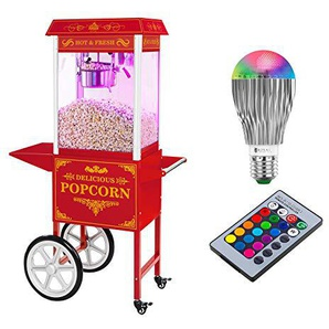 Royal Catering Popcornmaschine Popcorn Maker Popcornautomat RCPW-16.3 Popcorn Machine LED Set (1.600 W, 6 kg/h, 16 L/h, Teflon-Beschichtung, mit Wagen und LED-Beleuchtung) Rot Retro