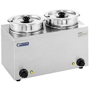 Royal Catering - RCBM-2/4R - Bain Marie Suppenstation Hotpot mit Ablasshahn Chafing Dish (2 x 2,75 L, 30-110 °C, 2 x 150 W, Inklusive 2 Deckel)