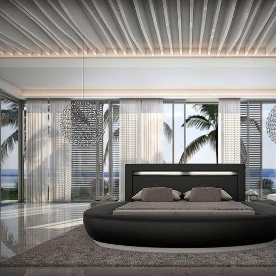 SalesFever Rundbett, mit LED-Beleuchtung im Kopfteil, Design Bett in Kunstleder, Lounge Bett mit stimmungsvollem Licht, Rundbett