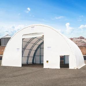Rundbogenhalle mit Fachwerk-Konstruktion, 12,2m x 12m x 6,1m - Beinabstand 1,5m - PVC 720g/m² weiß