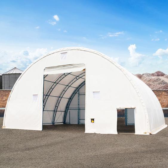 Rundbogenhalle mit Fachwerk-Konstruktion, 12,2m x 12m x 6,1m - Beinabstand 1,5m - PVC 720 weiß