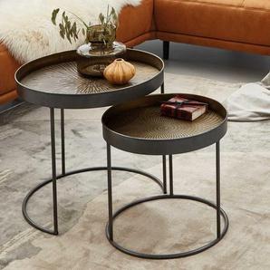 Runde Beistelltische aus Stahl Schwarz und Kupferfarben (zweiteilig)