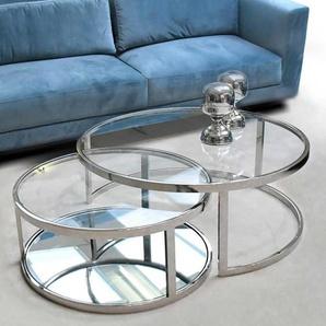 Runde Couchtische aus Glas und Metall Chromfarben (zweiteilig)
