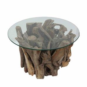 Runder Couchtisch aus Glas Teak Wurzelholz