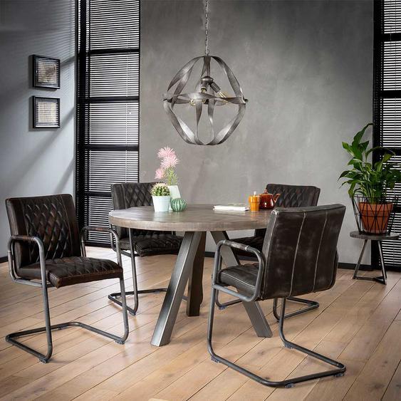 Runder Esszimmertisch aus Mangobaum Massivholz Stahl Anthrazit