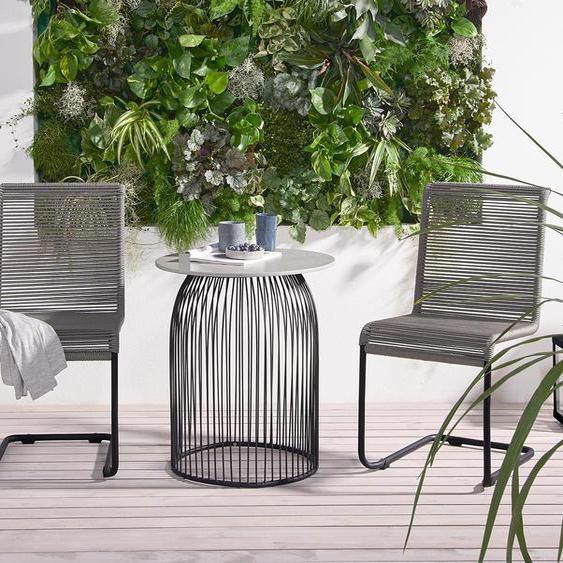 Runder Gartentisch in Betonoptik - schwarz -