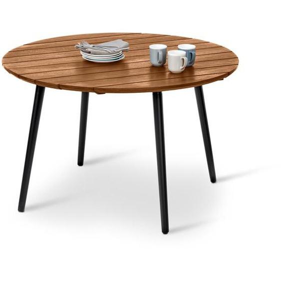 Runder Gartentisch - schwarz - Massivholz -