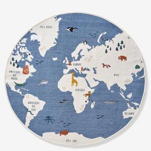 """Runder Kinderzimmer Teppich """"Weltkarte"""" blau/mehrfarbig"""