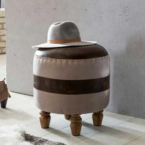Runder Sitzhocker in Beige Braun Leder und Leinen