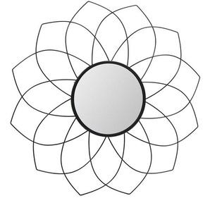 Runder Spiegel im Blumen Look Schwarz aus Metall