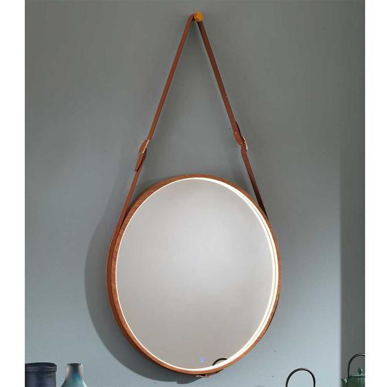 Runder Spiegel in Hellbraun Leder LED Beleuchtung