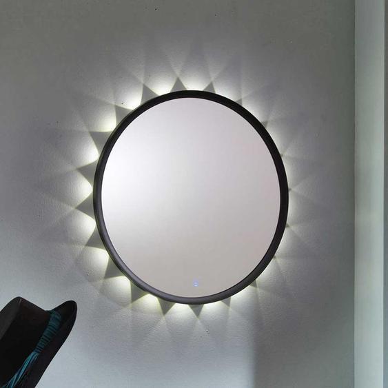 Runder Spiegel mit LED Beleuchtung Anthrazit