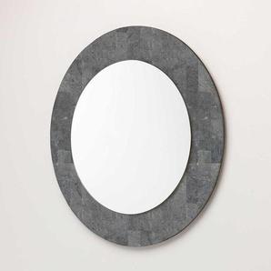 Runder Spiegel mit Steinrahmen Grau