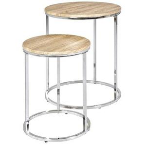 Runder Tisch in Eiche Dekor Stahl (2-teilig)