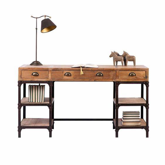 Rustikaler Schreibtisch aus Kiefer Massivholz Eisen