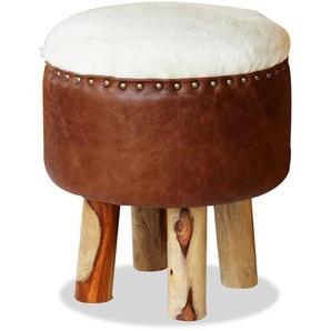 Rustikaler Sitzhocker aus Echtfell und Leder 4-Fuß Gestell aus Holz