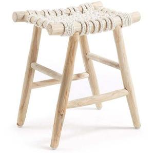 Rustikaler Sitzhocker aus Teak Massivholz Baumwollkordel